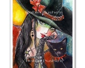 Colorful Witch and her Cat,  Print, 5x7