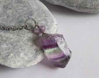 Rough Rainbow Fluorite Necklace, Oxidized Sterling Silver, Raw Quartz, Crystal Healing Jewelry, Gemstone Pendant