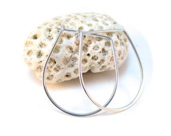 Silver Oval Hoops, Everyday Hoop Earrings, Inch Hoops