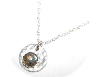 Labradorite Necklace, Labradorite Pendant on Silver Hammered Disc on Silver Chain