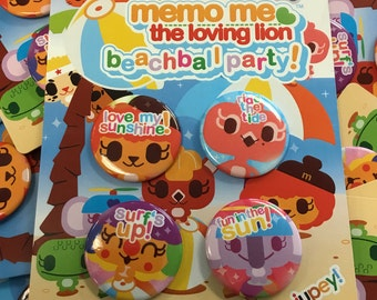 Memo Me BeachBall Party Button Pack