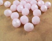Light Pink Czech Glass 8mm Round Beads Rose Alabaster Firepolished (25)
