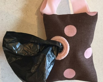 Brown with Pink Polka Dot Dog Poop Bag Holder Leash BONUS! Free Roll of Bags Holds Baby Diapers too!