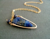 Lapis Lazuli Necklace, shield choker, indigo and gold Vitrine Designs Surf Necklace arrow midnight blue