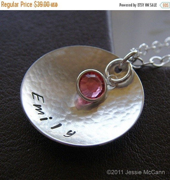 Anniversary Sale - Personalized Necklace - Custom Hand Stamped Sterling Silver Textured and Domed Charm Jewelry - Grande Cupola with One Bir