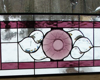 stained glass panel Amethyst Plum with bevels