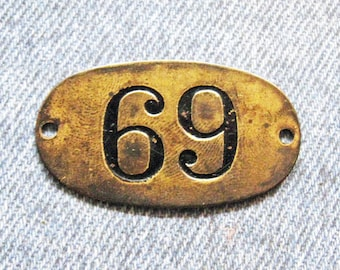Rustic Brass Tag Number 69 Industrial Antique Vintage PO Box Painted Numbered Victorian ID Plate Jewelry Locker Basket Theater Seat Hardware
