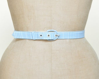 Vintage Belt --- 1950s Blue Plaid Belt