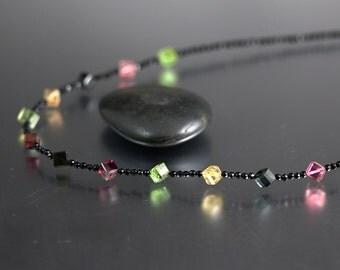 Watermelon Tourmaline Necklace - Black Agate - Tourmaline Necklace - Green Pink Yellow Black Tourmaline