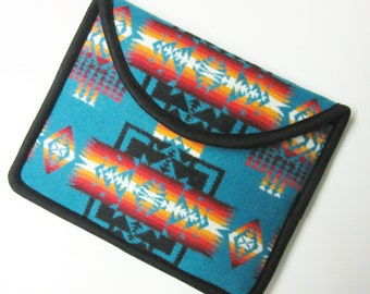 Wool iPad Cover Case iPad Sleeve Padded Turquoise Wool Native American Print Chief Joseph