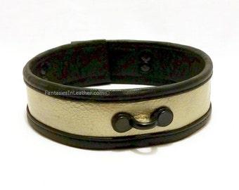 SALE Black and Gold Leather Collar BDSM Slave Kink (COL 107)