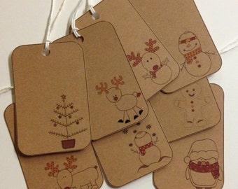 RUSTIC Kraft Christmas Gift TAGS - Vintage Inspired - Set of 8 Large Assorted Tags- Snowmen - Reindeer - Christmas Tree - Penguin