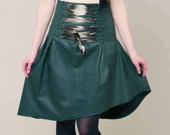 Green skirt, green laced skirt, green high waist corset skirt, waxed cotton green skirt, Asymmetrical bohemian hippy skirt, boho skirt