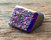Dara Ettinger KATE Full Stone Druzy Geode Ring in Grey and Disco Ball sz 5 see coupon