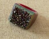 Dara Ettinger KATE Full Stone Druzy Geode Ring in Pink and Moondust sz 8