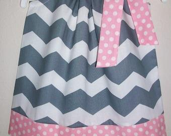 Pillowcase Dress Chevron Dress Grey and Pink Birthday Party Dress Girls Dress Spring Dress Summer dress baby dress toddler dress