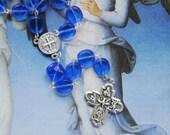 Catholic Chaplet rosary bead set - St Benedict - Handmade Traditional 2 decade beaded glass blue