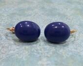 Dark Blue Clip On Earrings, Blue Clip Ons, Non Pierced Earrings, Fused Glass Jewelry - Felice - -6