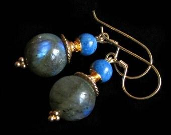 Labradorite Lapis Lazuli earrings Gold Vermeil, rustic byzantine style, natural stone handmade PinkOwlJewelry blue gray grey organic jewelry