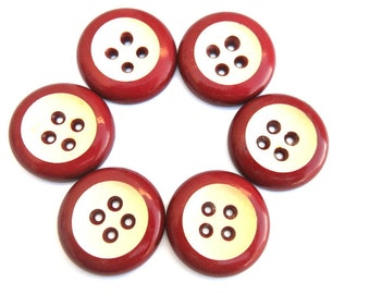 6 Vintage plastic buttons, dark red with white, 4 holes, 28mm