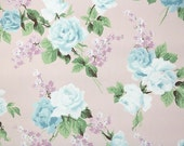 1940s Vintage Wallpaper by the Yard - Floral Vintage Wallpaper Blue and White Roses and Lilacs on Pink