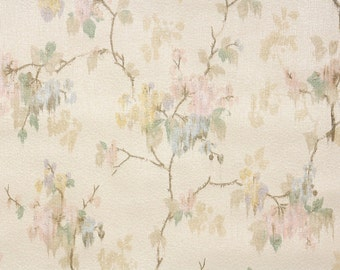1920's Vintage Wallpaper - Antique Floral Wallpaper Watercolor Floral Pastel Pink Yellow and Blue Flowers