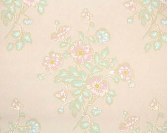 1920's Vintage Wallpaper - Antique Floral Pale Pink and Green Floral Wallpaper