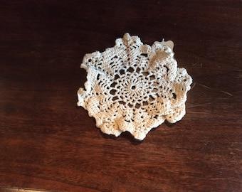 """Vintage Crochet Beige Doily 12"""" D39"""