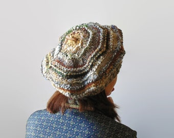Happy Beret - Shades of Beige and Brown Soft Blend Wool - One of a Kind