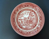 Churchill Bowl Blue Willow Pattern Red Made in  England