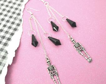 BLACK DIAMOND BONES - Silver Skeleton Charm Crystal Dangle Earrings