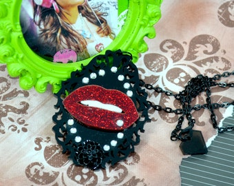 LUSCIOUS LIPS - Red Glitter Lips on a Black cutout frame with flower and crystals - Laser Cut Acrylic Charm Necklace