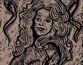 Postcard, Dolly Parton Letterpress Postcard, Linocut Print, Hello Dolly Postcard