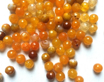 Yellow Fire Agate Faceted Round 6mm