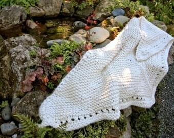 Large Ivory Chunky Hand Knit Triangular Eyelet Stripe Shawl Wrap
