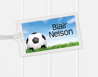Soccer Bag Tag - Sports Bag Tag - Diaper Bag Tag - Kids Bag Tag Luggage Tag