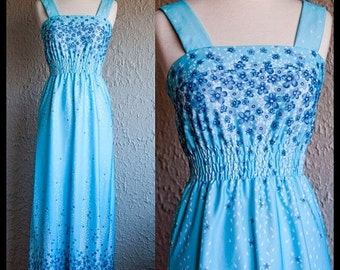 ON SALE Vintage bohemian summer blue floral dress fits xsmall-small