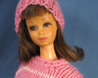 Francie Clothes - Pink Striped Sweater and Skirt Set