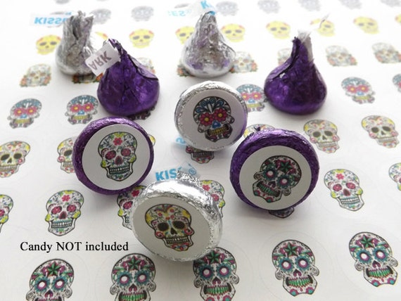 Candy Buffet STICKERS Day of the Dead dia de los muertos halloween party favor planner sugar skull treat bag labels envelope seal wedding