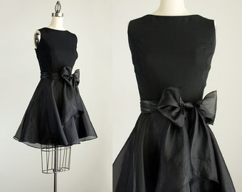 90s Vintage Black Oraganza Chiffon Mini Dress With Sash / Size Medium