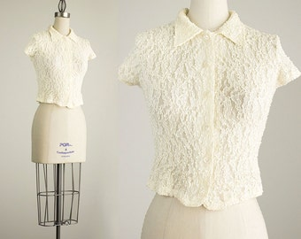 90s Vintage Cream Floral Lace Bodycon Oxford Cropped Top / Size Small / Medium