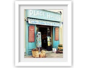 France Photography / French art print / aqua blue storefront / french writing / olive oil / france travel photography