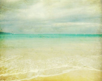 "Beach ocean photography print, Maui Hawaii seascape pale yellow aqua wall art  ""Calm"""