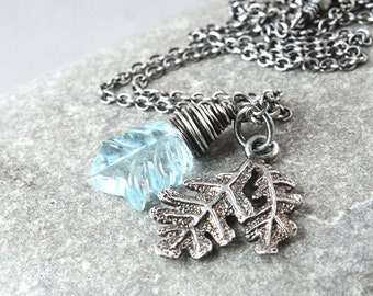 Blue Topaz Necklace  Oxidized Silver Carved Gemstone Jewelry Charm  Pendant Birthday Gift November Birthstone Necklace