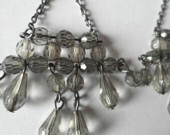 Vintage Chandelier Earrings Smokey Gray Pierced Earrings
