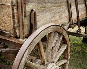 Wooden Wagon Photograph Wagon Wheel Wild West Farmhouse Wall Art Rustic Home