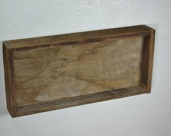 Reclaimed barn wood shadow box shelf with back