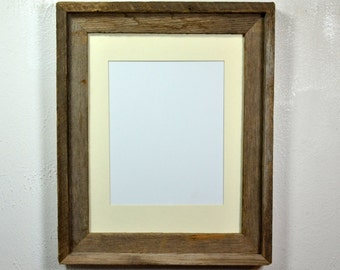 11x14 earth friendly reclaimed wood picture frame with mat for 8x10 or 8x12 or 9x12
