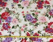 """Cotton poly lycra rib knit 48"""" wide Red and Purple Floral  1 yard"""