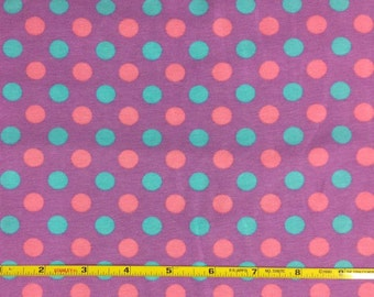 """NEW Pink aqua and orchid dots cotton lycra knit fabric 95/5 58"""" wide."""